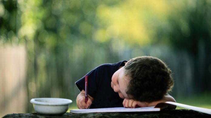 orejas de punta niño escribiendo